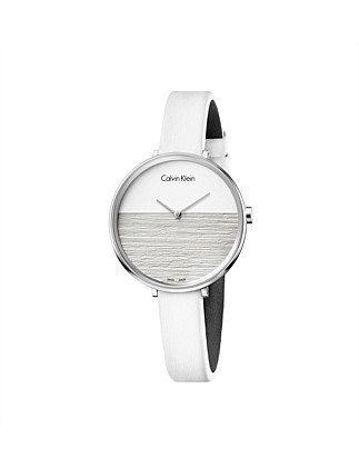 RISE POLISHED SS CASE, SILV DIAL, WHITE LTHR, 28CM