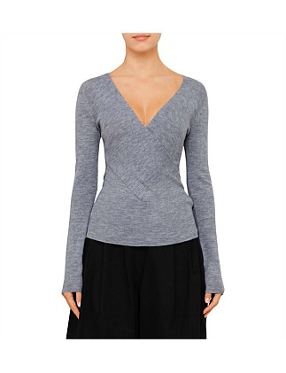 Wool Long Sleeve Wrap Top