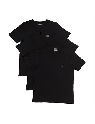 Emporio Armani Cotton V-Neck T-Shirt Pack of Three