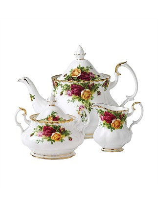 Old Country Roses Teapot, Sugar & Cream Set