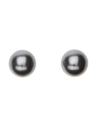 Round Pearl Earring Pearl 10mm Grey Rhodium