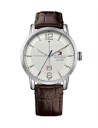 Mens George 3 Hand With Date Rnd Brn Strap