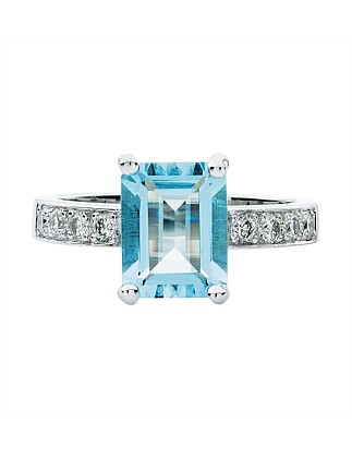 18ct Aquamarine  Diamond Robertson Ring