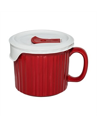 600ml Soup Mug with vented lid Red