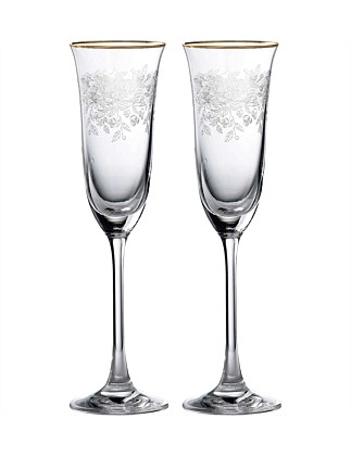 Old Country Roses Champagne Flute Pair