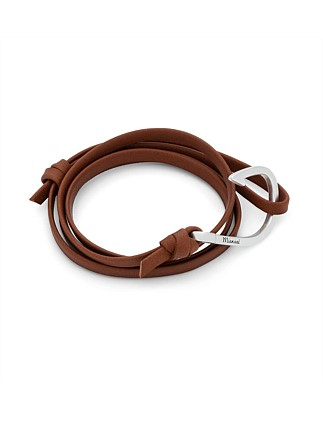 Silver Hook/Brown Leather Bracelet