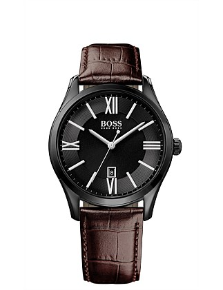 HB Blk IP Rnd Case Blk Dial Brn Leather Strap