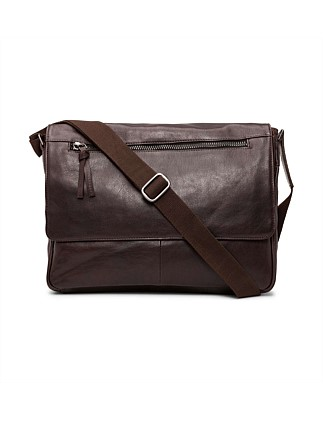 East West Zip Flap Messenger - Smooth Leather