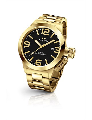 50mm 3 Hands Quartz Full Plating Yellow Gold + Black Dial