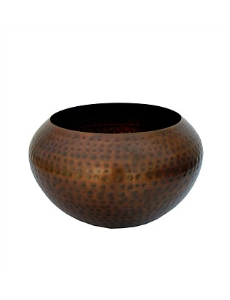 Copper Iron Faceted Large Bowl