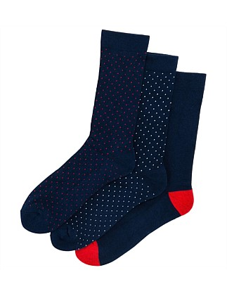 Pin Dot Crew Socks 3 Pack