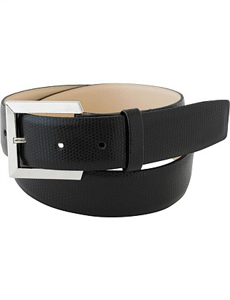 Iguana Print Leather Belt With Brushed Nickel