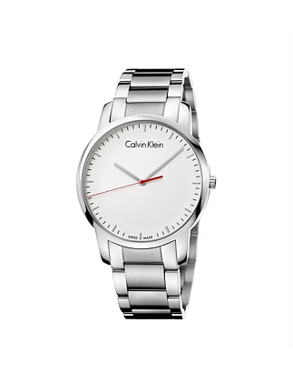CITY GENT POLISHED/BRUSH SS BRACELET, SILVER DIAL, 43MM