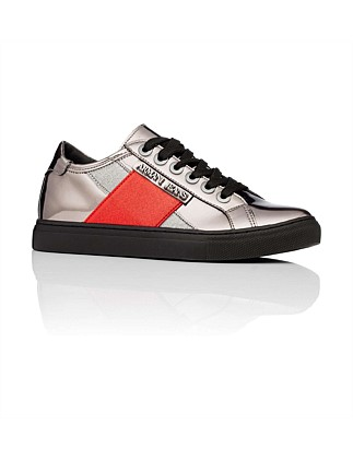Metalic Trainer With Red Stripe