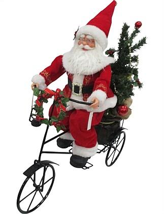 decor santa with bike figurine multi christmas shop