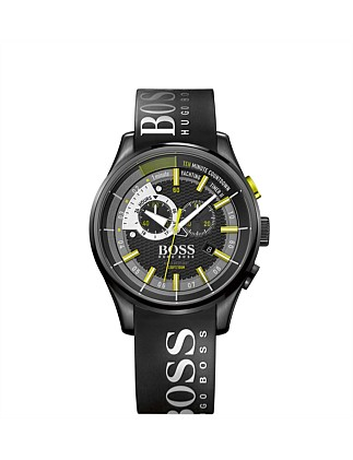 Boss Mens Yacht Chrono Blk Silicon Strasp