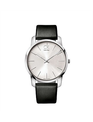 City Gent Silver Dial On Black Leather