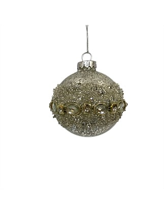 Orn-Bauble Sequin Trim Silver