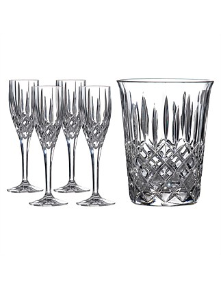 Champagne Set - Ice Bucket & 4 Flutes
