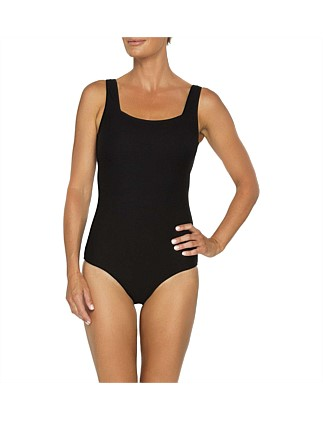 Textured Rib Scoop Neck One Piece