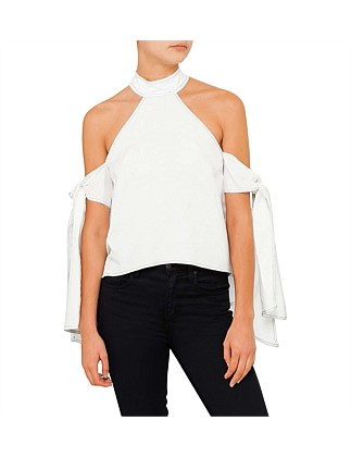 Contrast Stitching Tie Sleeve Top