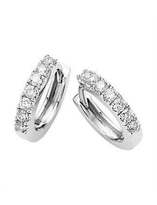 18ct White Gold Diamond Cuff Earrings