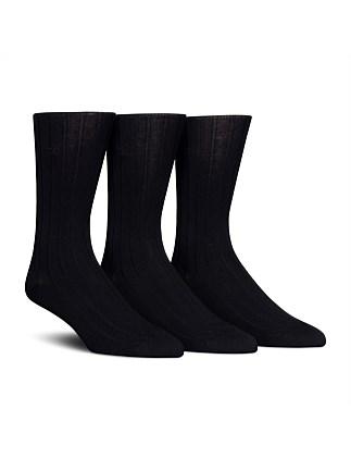 Calvin Klein 3 Pack Cotton Rich Dress Rib Socks