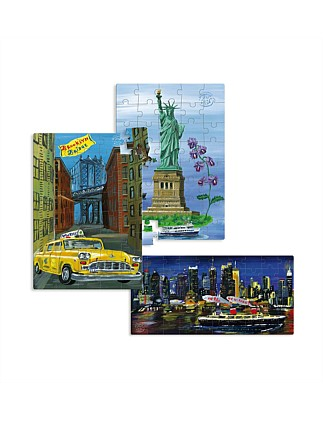 New York 3 Wood Puzzles