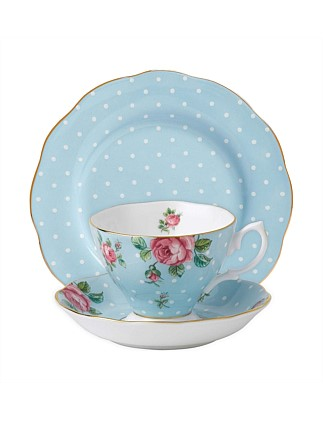 Polka Blue Teacup/Saucer/Plate Set