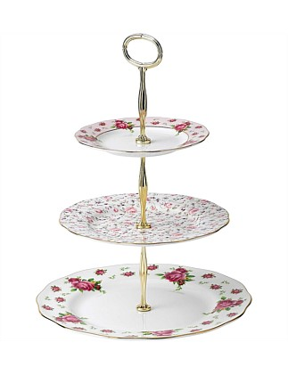 New Country Roses White 3 Tier Cake Stand