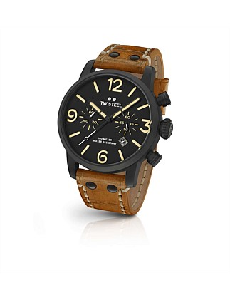 Maverick, 48mm, Chrono, Blk, Blk Dial, Tan Lthr