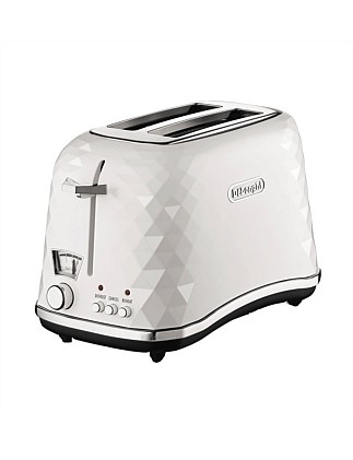 Brillante White Gloss Plastic 2 Slice Toaster