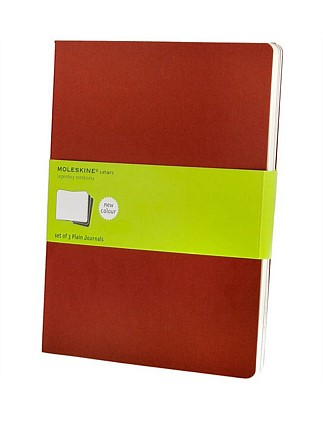 Cahier- Set Of 3, unruled Notebook, Extra Large, Red