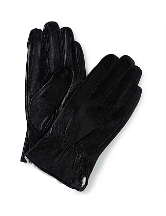 Leather Glove W Button Detail