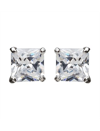 Round Pearl Earring Cz 6mm Square Rhodium
