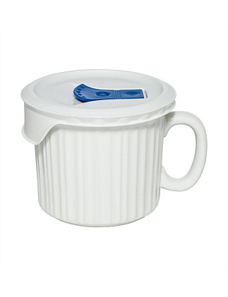 600ml Soup Mug with vented lid - White