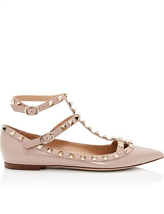 Rockstud Caged Patent Ballet Flat