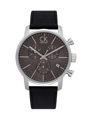 Grey Dial, Date Function, Sst On Blk Leather