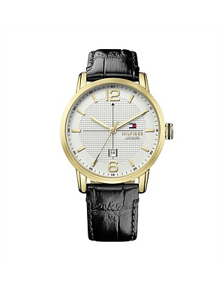 Mens George 3 Hand With Date Rnd Gld Blk Strap