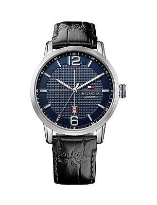 Mens George 3 Hand With Date Rnd Blk Strap
