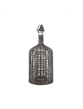 Grid Brown Iron Lantern