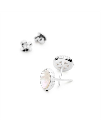 Reflection Mother of Pearl Stud Earrings, Small