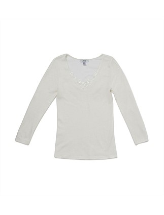 Cotton Wool L/S Top W/Lace