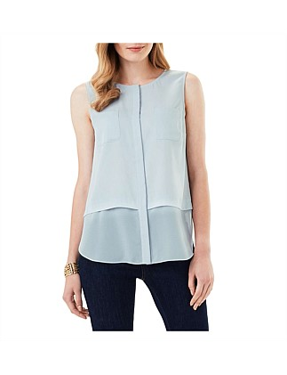 Megan Woven Mix Sleeveless Top