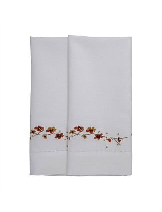TOKAIDO EMBROIDERED WAFFLE GUEST TOWEL SET OF 2 - 42X70cm