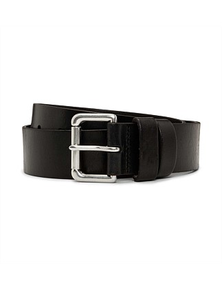 Saddle Patch Leather Double Keeper Jean Belt