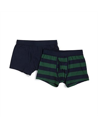 2 Pack Rugby Stripe/Plain Trunks