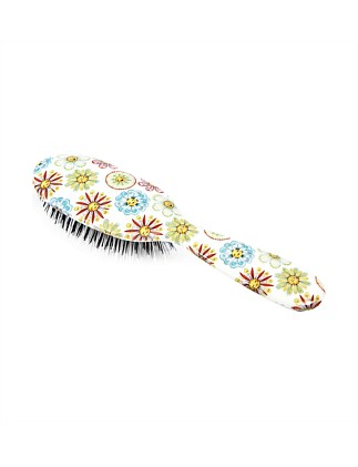 Boar Bristle Small Hair Brush - Flower Faces
