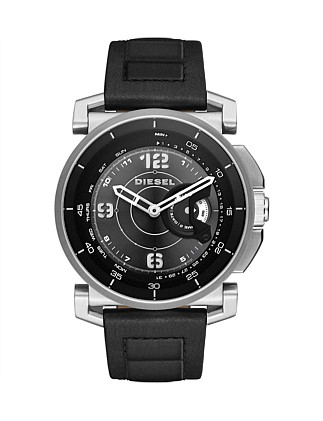 Sam Black And Silver Tone Leather Hybrid Smartwatch
