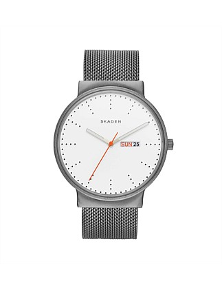 Ancher Silver Stainless Steel Mesh Watch